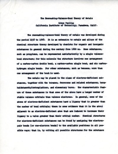 """The Resonating-Valence-Bond Theory of Metals."" Page 1. August 15, 1960"