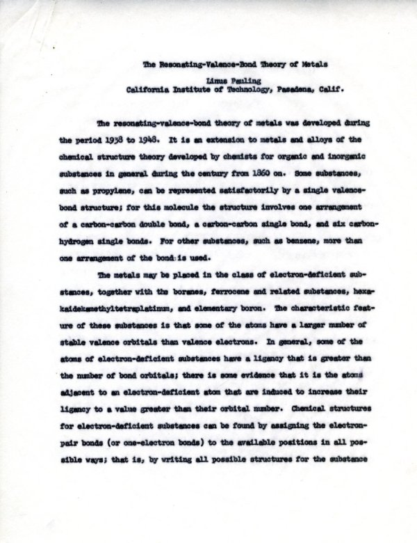 """""""The Resonating-Valence-Bond Theory of Metals.""""Page 1. August 15, 1960"""
