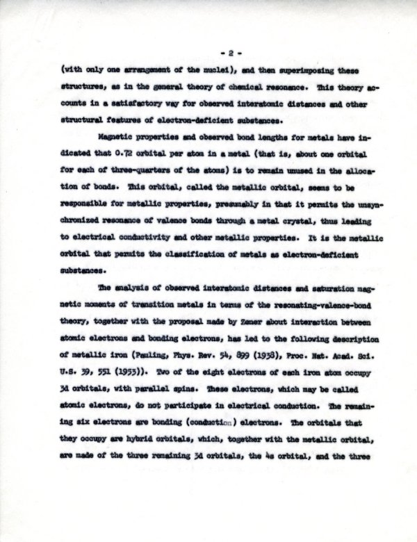 """""""The Resonating-Valence-Bond Theory of Metals.""""Page 2. August 15, 1960"""
