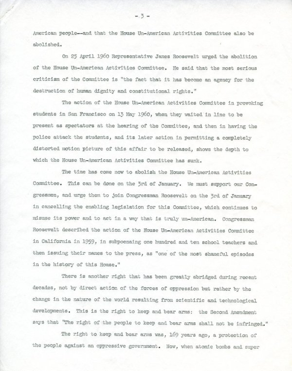 """""""Civil Liberties in the Advancement of Science.""""Page 3. December 15, 1960"""