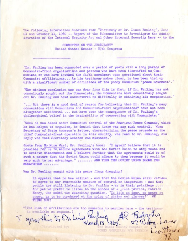 Flyer implicating Linus Pauling as a Communist sympathizer. Page 1. March 13, 1962