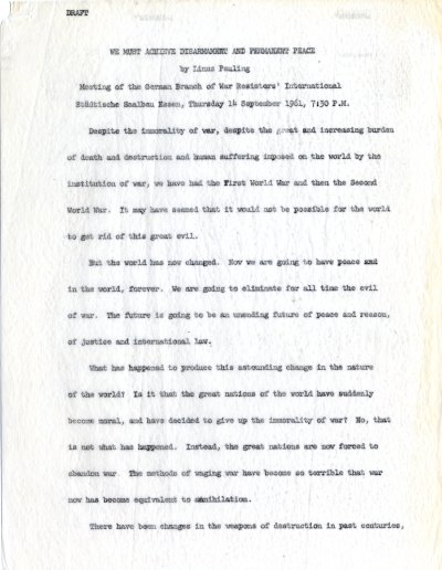 """We Must Achieve Disarmament and Permanent Peace."" Page 1. September 14, 1961"