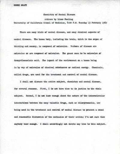 """Chemistry of Mental Disease."" Page 1. February 13, 1962"