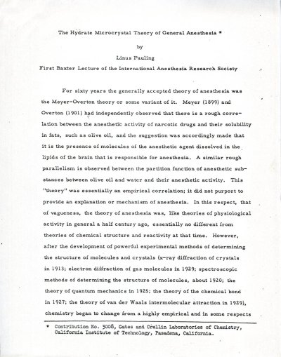 "Notes: ""The Hydrate Microcrystal Theory of General Anesthesia."" Page 1. March 27, 1963"