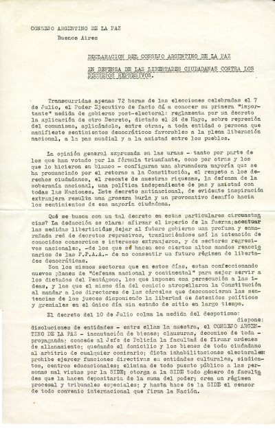 """In Defense of Citizen's Liberties Against Repressive Decrees"". Page 1. August 22, 1963"