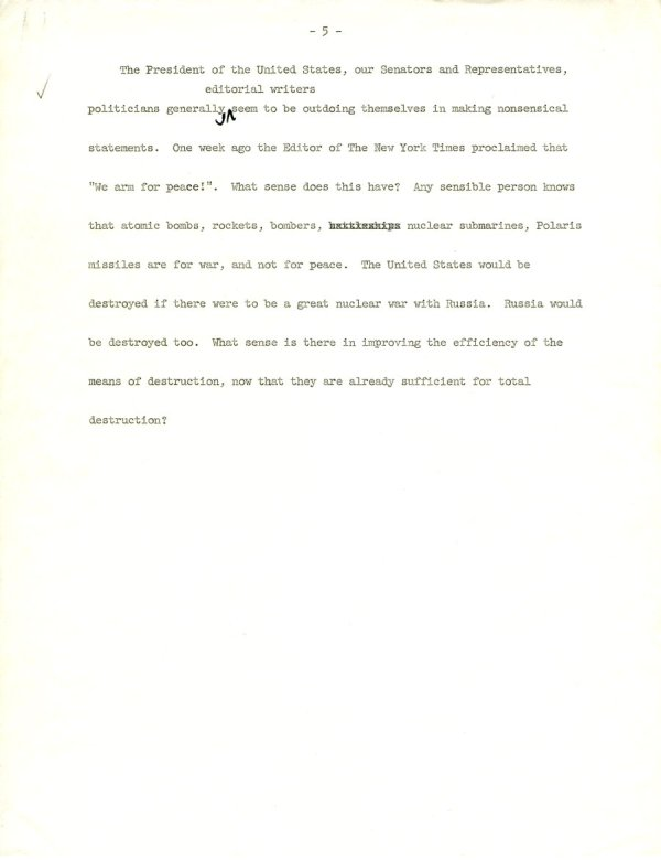 Manuscript Notes re: Nations and Morality; Armament for Peace.Page 2. December 19, 1963