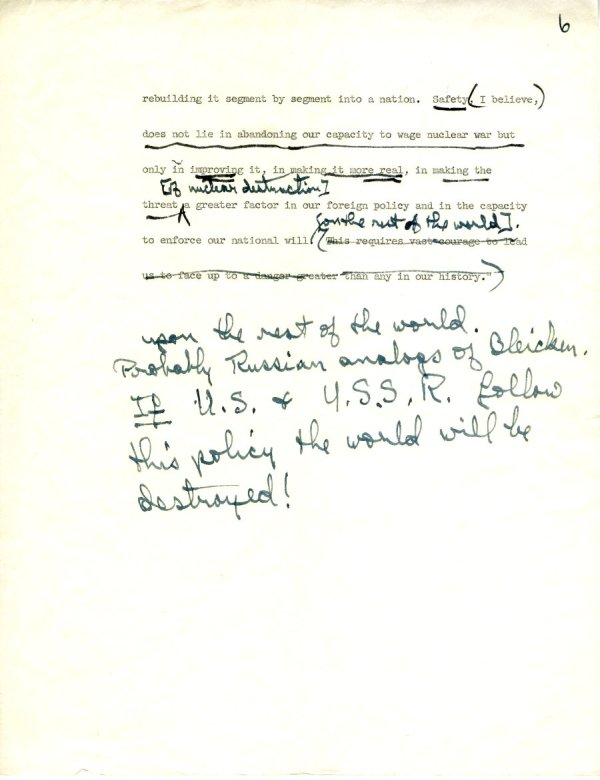 Manuscript Notes re: Nations and Morality; Armament for Peace.Page 5. December 19, 1963