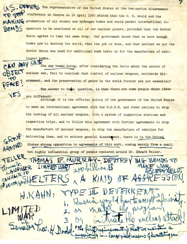 Manuscript Notes re: Nations and Morality; Armament for Peace.Page 7. December 19, 1963