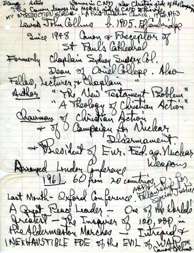 """""""Introduction of Lewis John Collins.""""Page 1. February 17, 1963"""