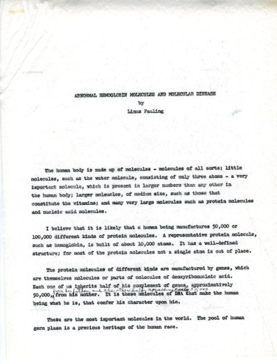 """Abnormal Hemoglobin Molecules and Molecular Disease."" Page 1. May 6, 1964"