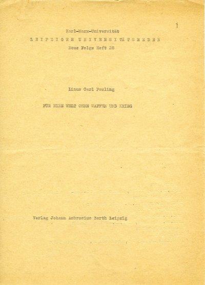 """""""Für eine Welt ohne Waffen und Krieg.""""Page 1. July 7, 1964"""