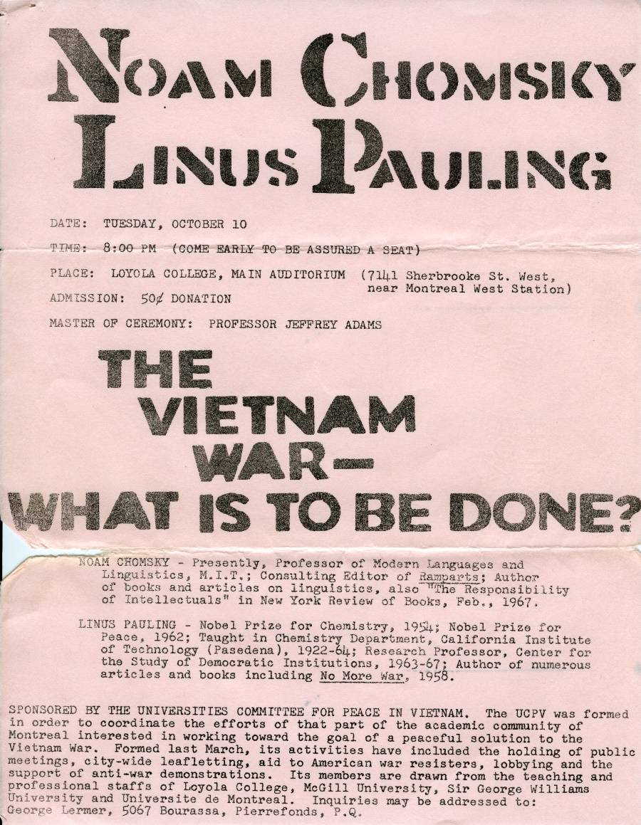 """Flyer for a presentation by Noam Chomsky and Linus Pauling on the Vietnam War."""