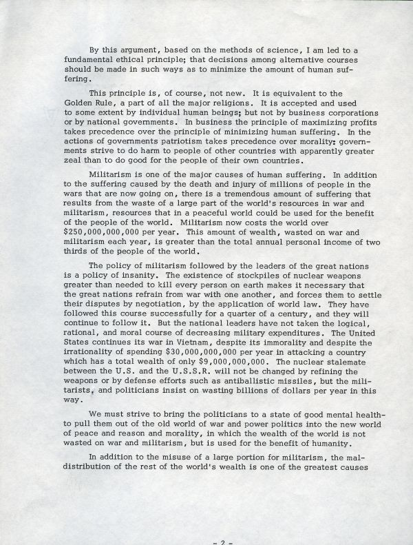 """The Possibilities for Social Progress"" Page 2. August 4, 1969"