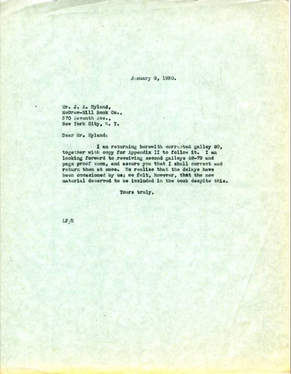 Letter from Linus Pauling to J.A. Hyland. Page 1. January 9, 1930