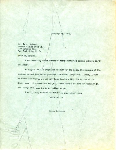 Letter from Linus Pauling to J.A. Hyland. Page 1. January 21, 1930