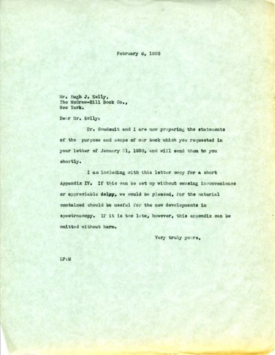 Letter from Linus Pauling to Hugh J. Kelly. Page 1. February 6, 1930