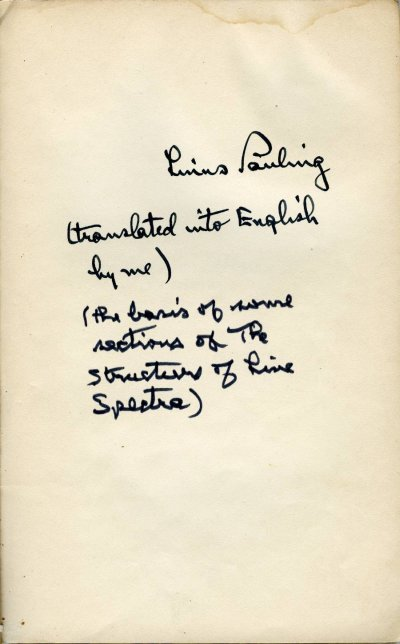 Notes regarding Pauling's translation of Atoommodel En Structuur Der Spectra.Page 1. 1930