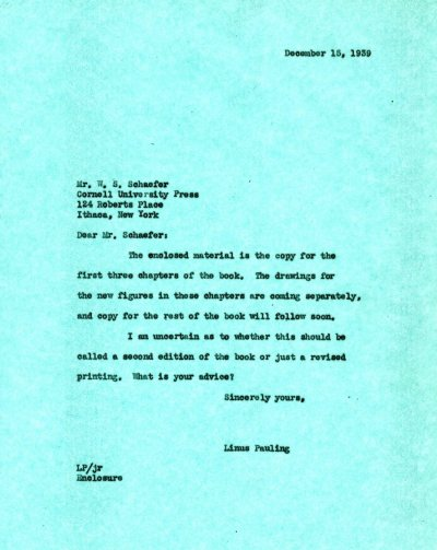 Letter from Linus Pauling to W.S. Schaefer. Page 1. December 15, 1939