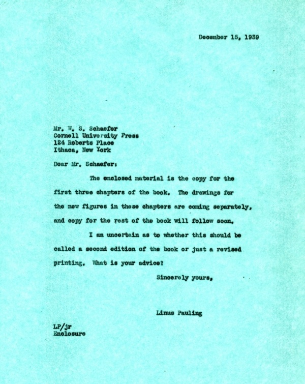 Letter from Linus Pauling to W.S. Schaefer.Page 1. December 15, 1939