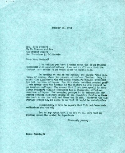 Letter from Linus Pauling to Jean Sanford.Page 1. January 26, 1951