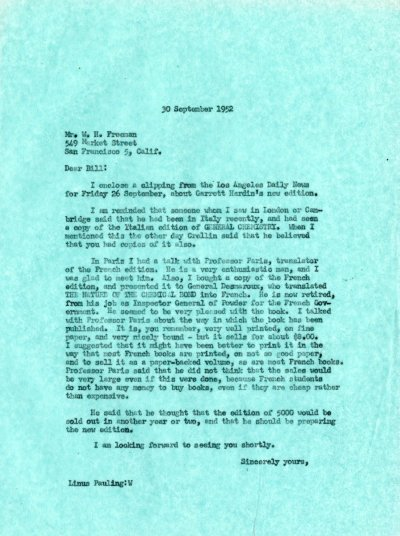 Letter from Linus Pauling to W.H. Freeman. Page 1. September 30, 1952