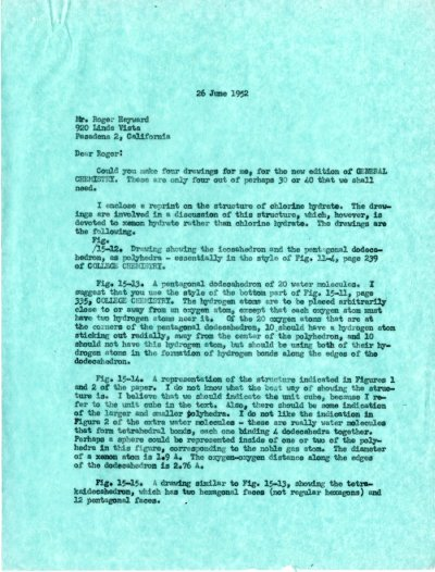 Letter from Linus Pauling to Roger Hayward. Page 1. June 26, 1952