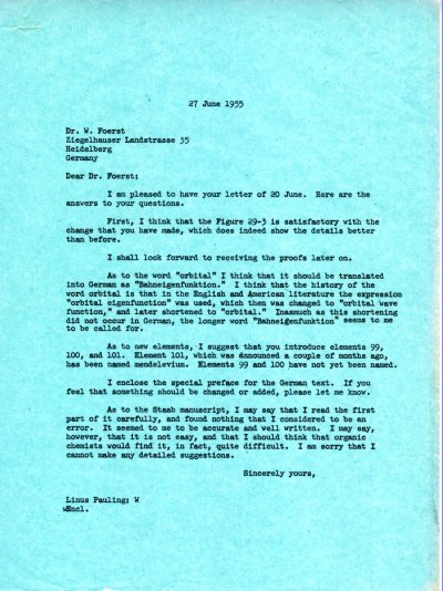Letter from Linus Pauling to Wilhelm Foerst. Page 1. June 27, 1955