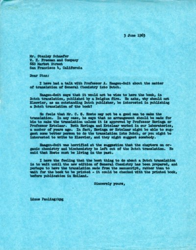 Letter from Linus Pauling to Stanley Schaefer.Page 1. June 3, 1963