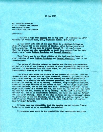 Letter from Linus Pauling to Stanley Schaefer. Page 1. May 15, 1963