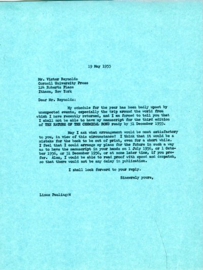 Letter from Linus Pauling to Victor Reynolds. Page 1. May 19, 1955