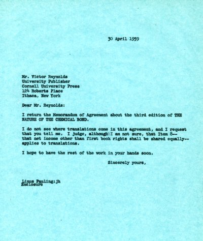 Letter from Linus Pauling to Victor Reynolds. Page 1. April 30, 1959