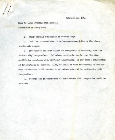 """""""Memo to Linus Pauling from Himself.""""Page 1. February 12, 1951"""