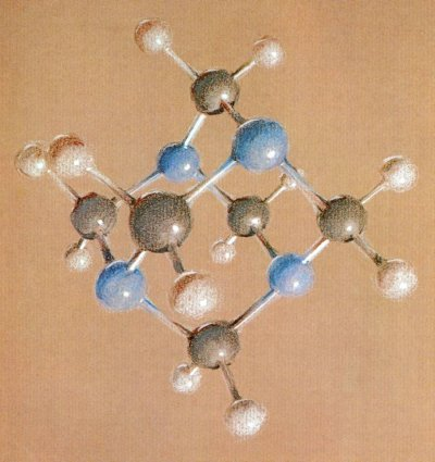Pastel drawing of Hexamethylenetertramine. Page 1. 1964