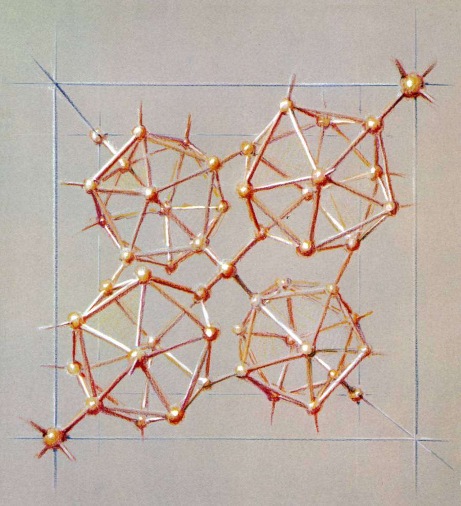 Pastel drawing of Tetragonal Boron.