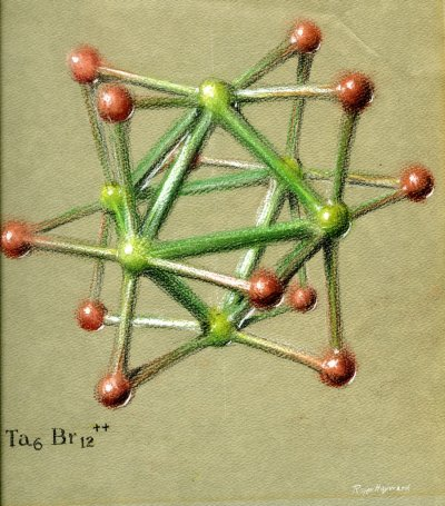 Pastel drawing of a Tantalum Halide cluster ion. Page 1. 1964