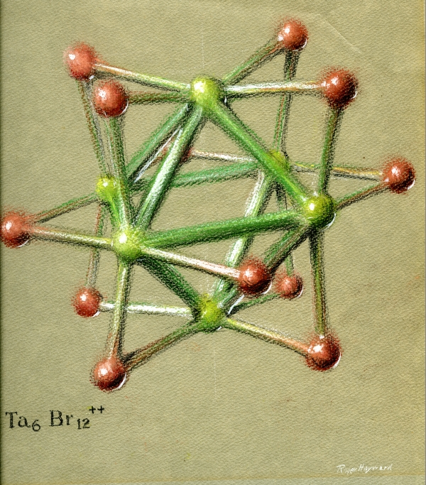 Pastel drawing of a Tantalum Halide cluster ion.