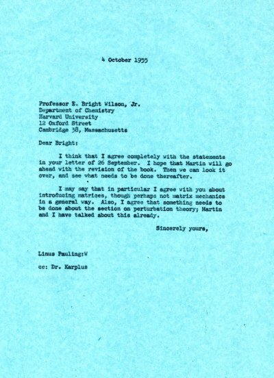 Letter from Linus Pauling to E. Bright Wilson, Jr. Page 1. October 4, 1955