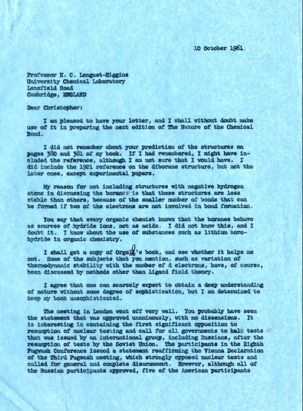 Letter from Linus Pauling to H. C. Longuet-Higgins. Page 1. October 10, 1961