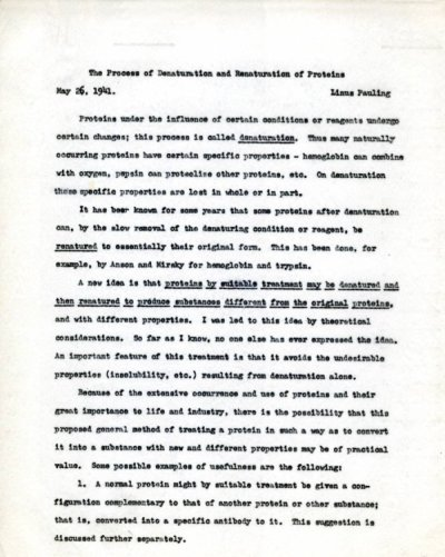 """The Process of Denaturation and Renaturation of Proteins."" Page 1. May 26, 1941"