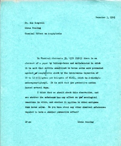 Memorandum from Linus Pauling to Dan H. Campbell. Page 1. December 3, 1945