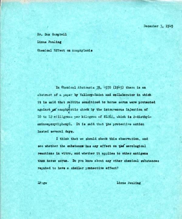 Memorandum from Linus Pauling to Dan H. Campbell.Page 1. December 3, 1945