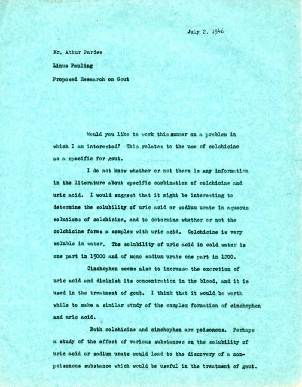 Memorandum from Linus Pauling to Arthur Pardee. Page 1. July 2, 1946