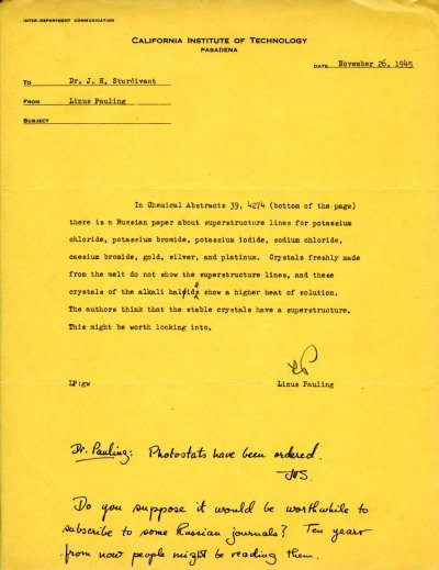 Memorandum from Linus Pauling to J. Holmes Sturdivant.Page 1. November 26, 1945