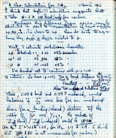 Notes re: A New Calculation for CH2.Page 1. March 1, 1963