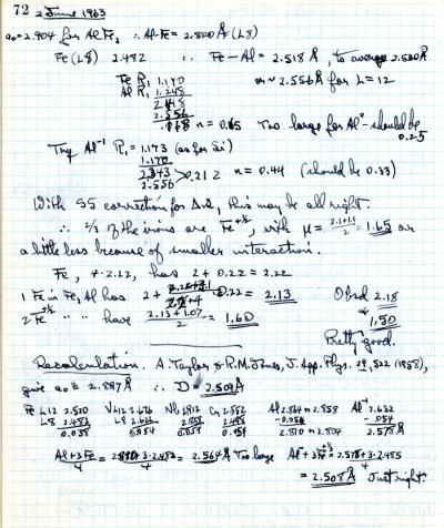 Notes re: Recalculation of work by A. Taylor and R. M. Jones.Page 1. June 2, 1963