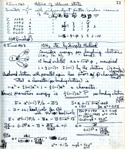 Notes re: Nature of Valence State; NH3, etc. by Simple Method.Page 1. June 5, 1963