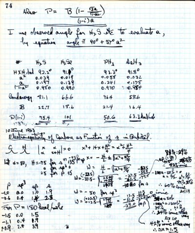 Notes re: Electronegativity of Carbon as Function of s in Orbital.Page 1. June 10, 1963