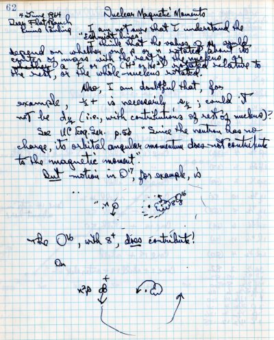 Notes re: Nuclear Magnetic Moments.Page 1. June 4, 1964