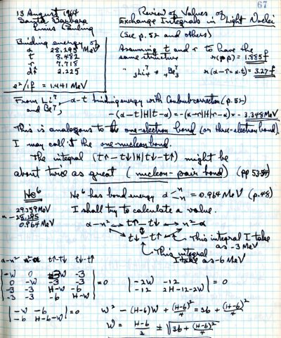 Notes re: Review of Values of Exchange Integrals in Light Nuclei. Page 1. August 13, 1964