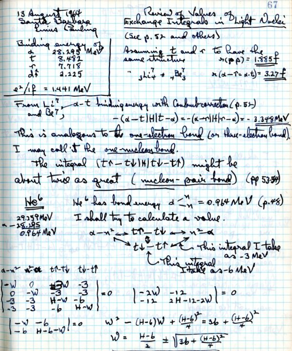 Notes re: Review of Values of Exchange Integrals in Light Nuclei.Page 1. August 13, 1964